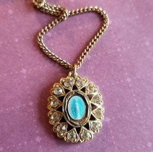 Vintage Mary necklace gold tone rhinestones enamel